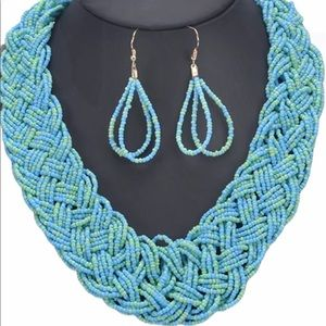 Turquoise Small Seed Bead Necklace and Earrings
